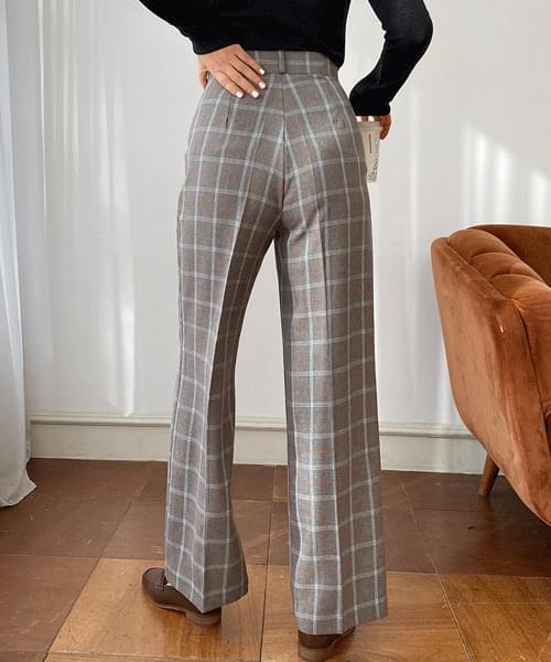 Check Spring Wide Long Slacks pants