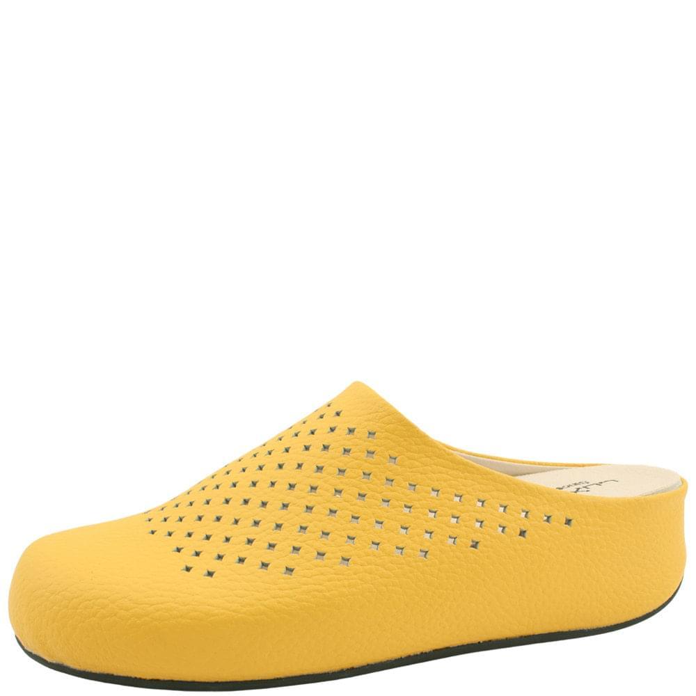 Cowhide High Heel Mule Slippers Yellow
