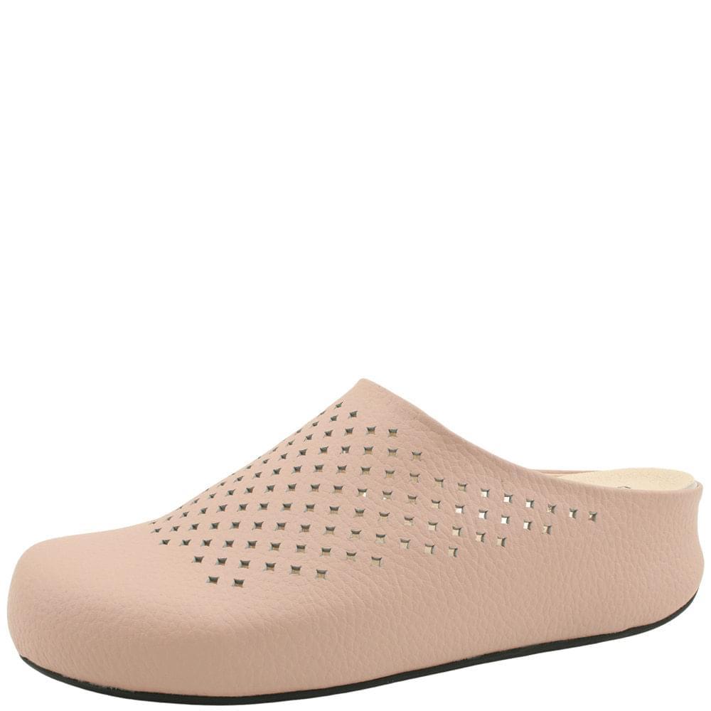 Cowhide High Heel Mule Slippers Pink