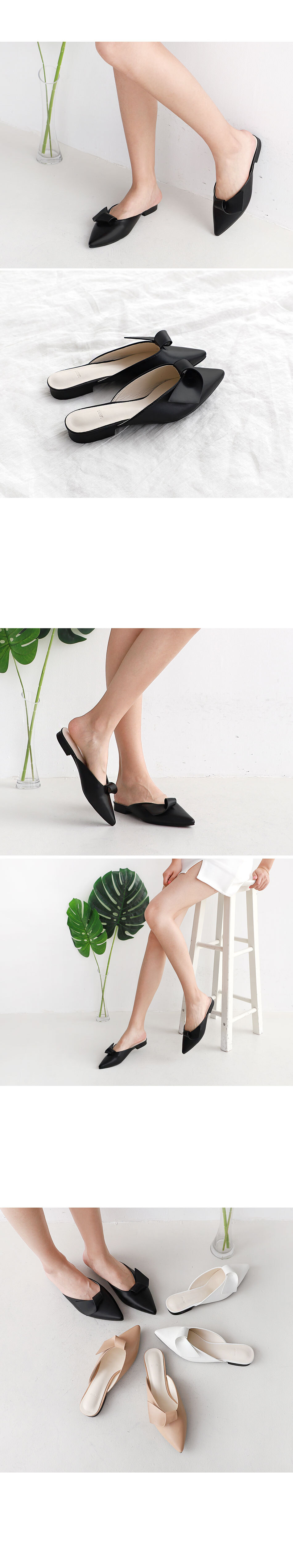 Isshu pointed nose roll-up decoration blower mule slippers 2512