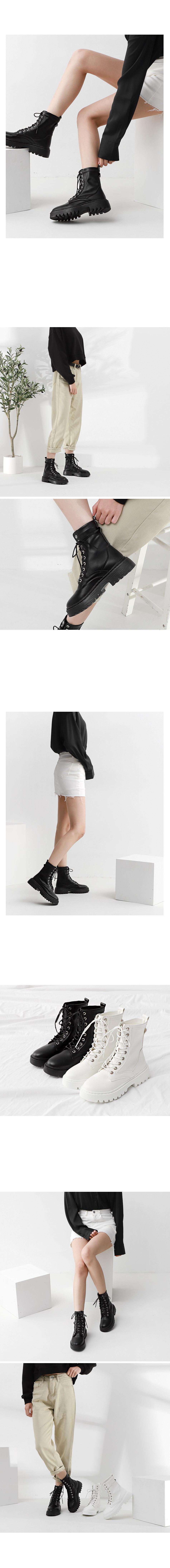 Isshu Lace-up Simple Lightweight Full Heel Walker Boots 10820