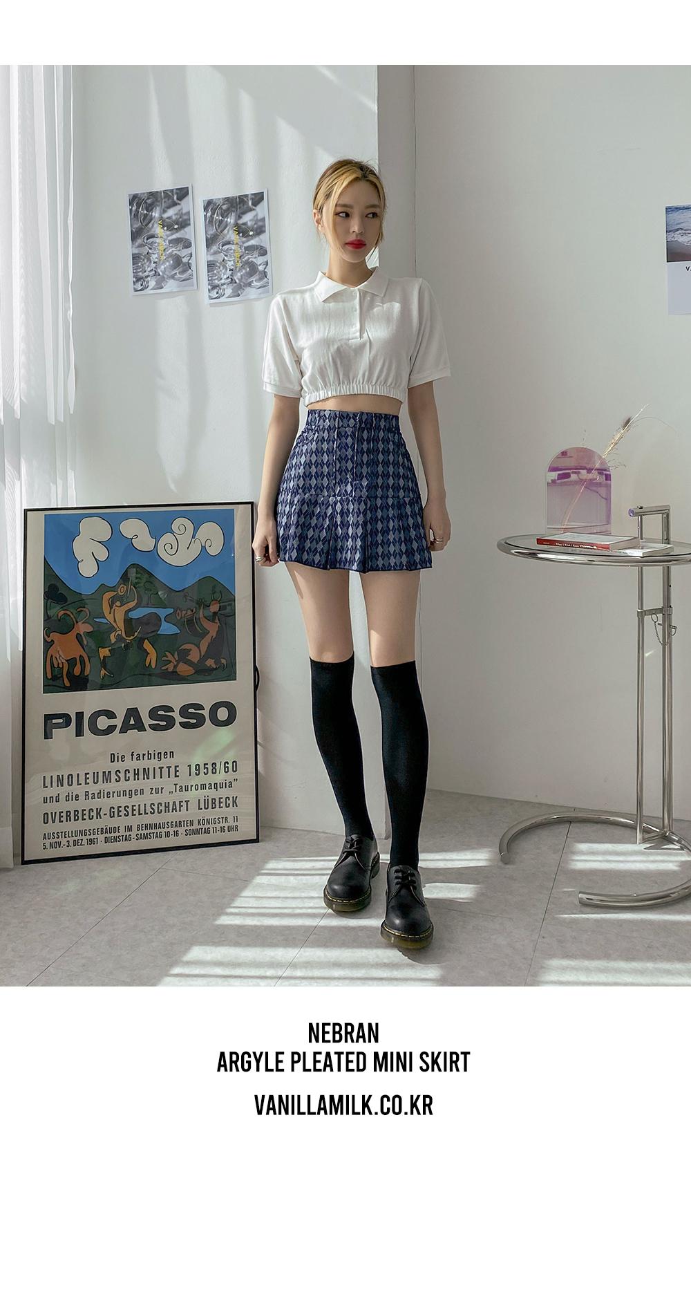 Nebran argyle pleated banding mini skirt