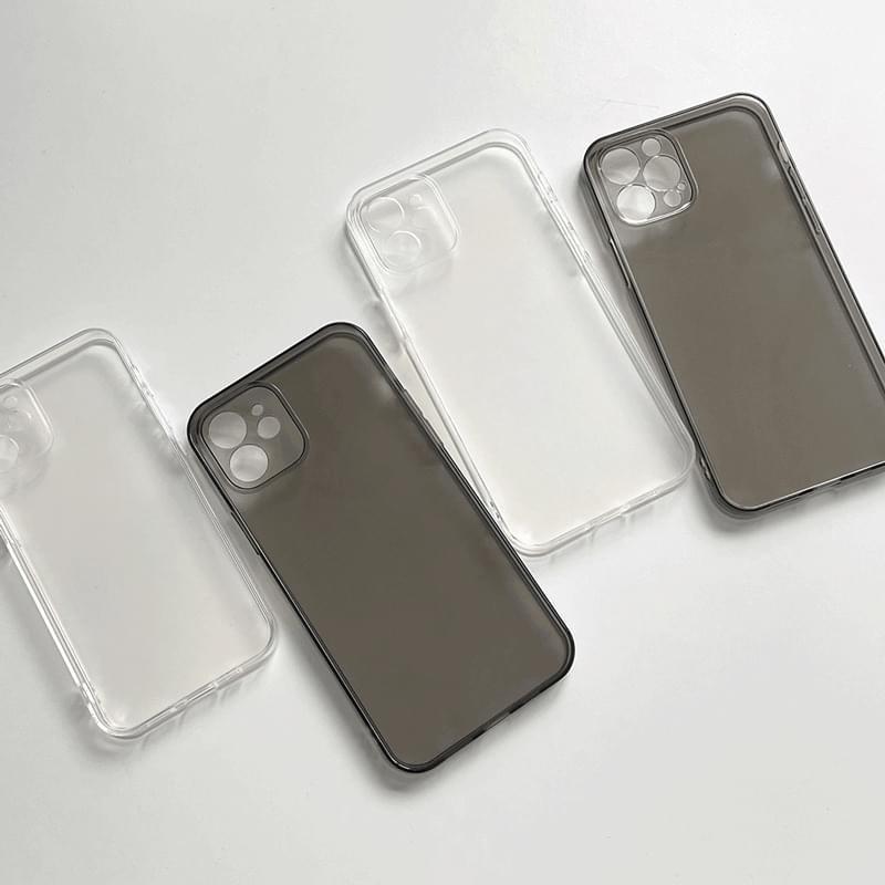 フリップ無地基本フルカバー透明iPhoneケース