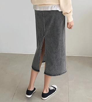 Mono Back Split Denim Skirt #51307