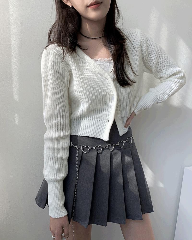 韓國空運 - Pevu V-Neck Hatchi Crop Knitwear Cardigan 針織外套