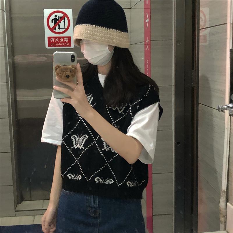 vt3657 Koya Butterfly Pattern Knitwear Vest