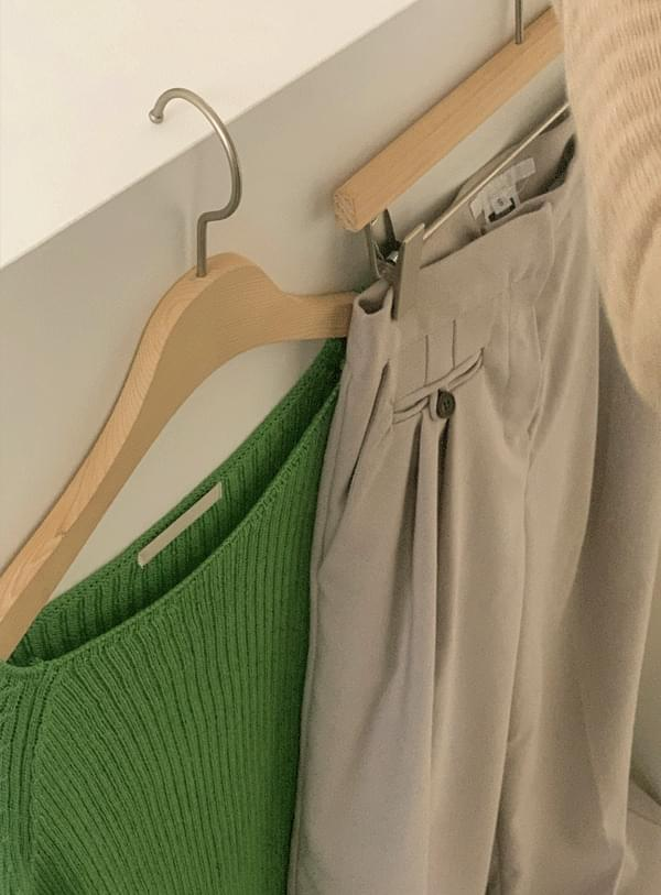 Dutch boat neck knit / spring green 針織衫