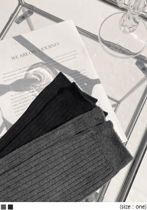 羅紋收束純色過膝長襪