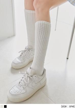 羅紋收束素面長襪