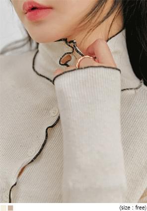 羅紋波浪邊翻領針織外套