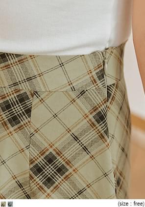 配色格紋後鬆緊腰長裙