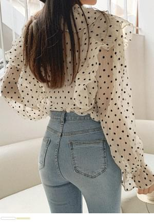 Only U-dot See-Through Frill Blouse