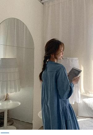 Comfortable charm iron iron denim long Dress 连身裙