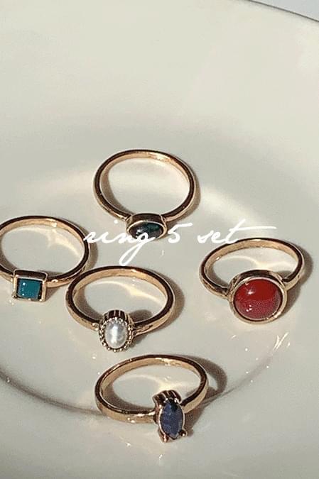 Antique color mix ring 5 set