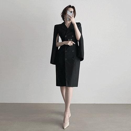 Thin double button belt midi cape guest look Dress 2color 半身裙