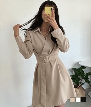 Elegant collar wrap button Dress 半身裙
