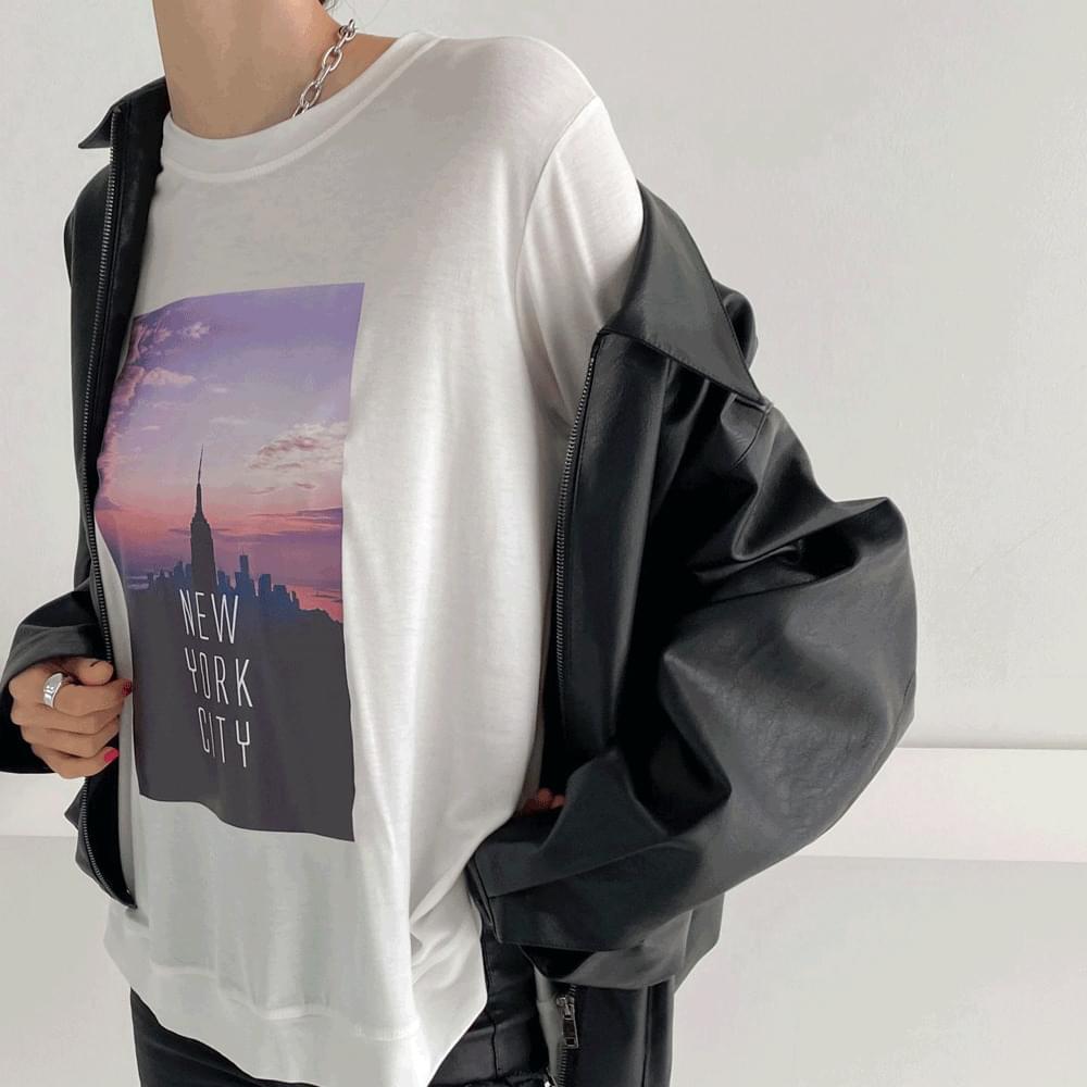 New York City round Boxy T-shirt
