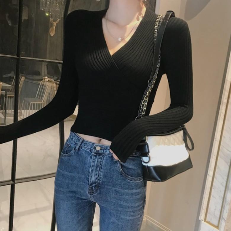 韓國空運 - Rumi V-neck Slim Top Knitwear T-shirt 長袖上衣