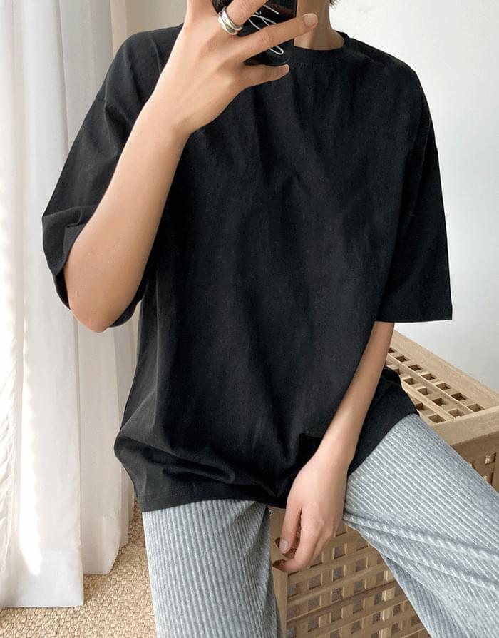 韓國空運 - 圓領半袖寬鬆純棉T恤 短袖上衣