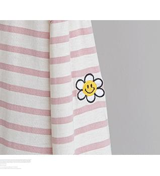 Flower Embroidery Striped T-shirt #108869