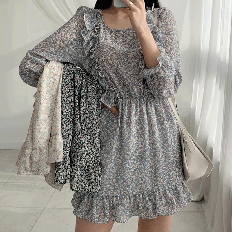 Floral frill mini Dress