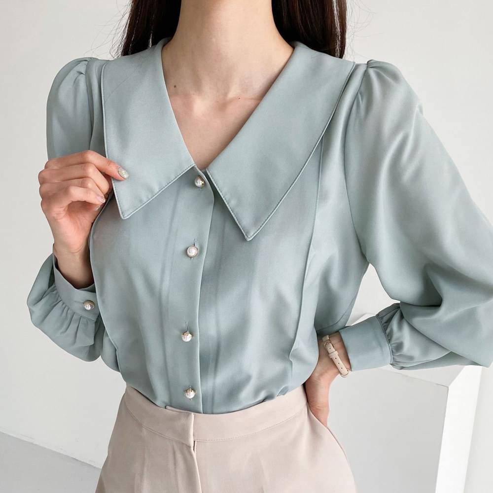 Big Color Pearl Button Blouse