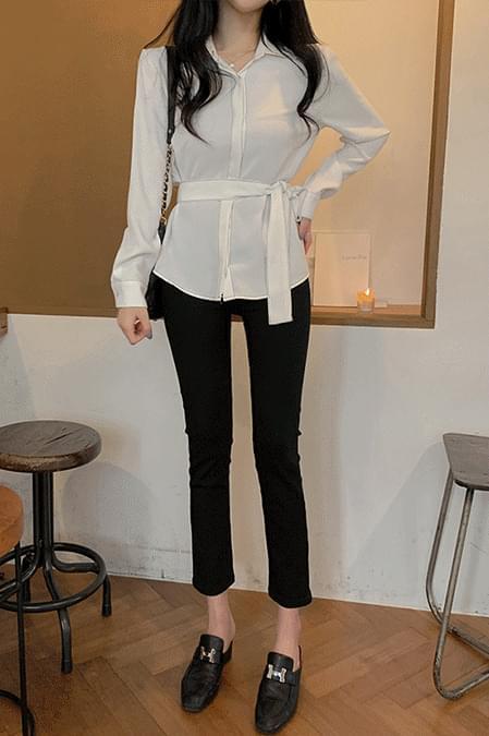 韓國空運 - Stitch belt blouse 襯衫