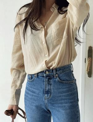 Sally Wide Cuff Wrinkle Shirt