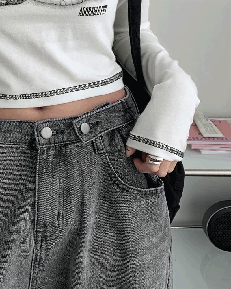 Cropper Buckle Wide Long Faded Denim Pants jeans