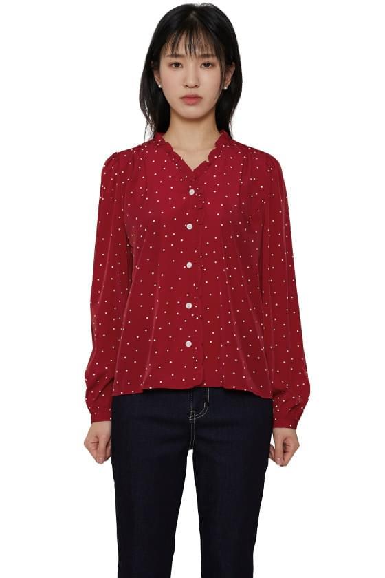 Soy dot frill blouse
