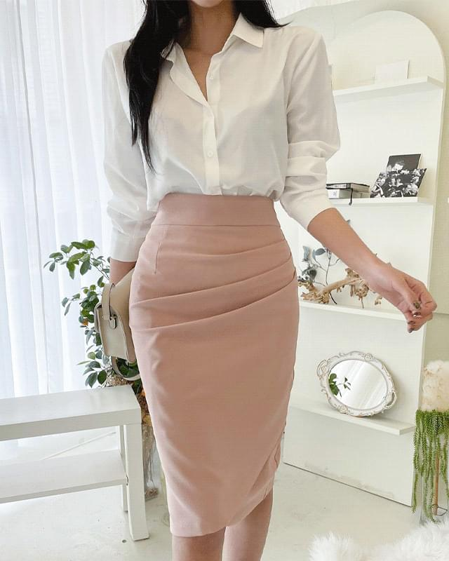 Hern Shirred Midi Skirt