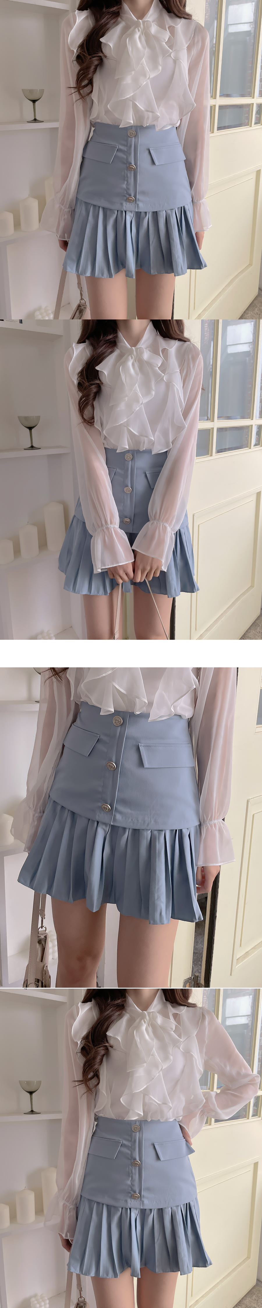 Ribe see-through chiffon frill blouse 3color