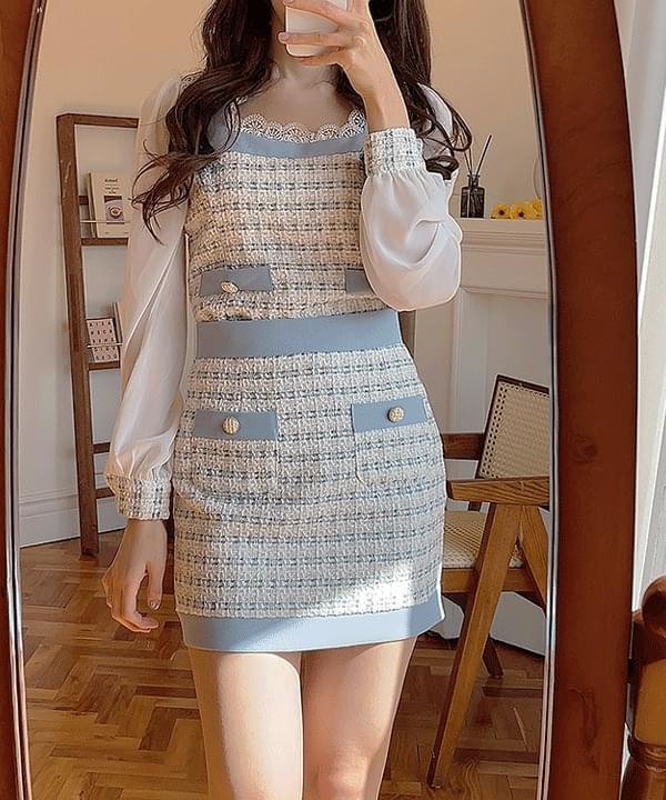 Kate Tweed color matching mini skirt 2color 裙子