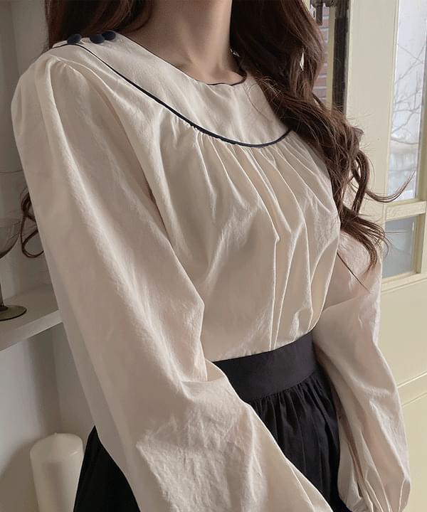 Sadden button color blouse 2color