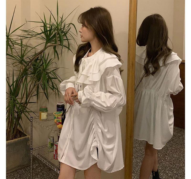 荷葉邊皺褶襯衫裙