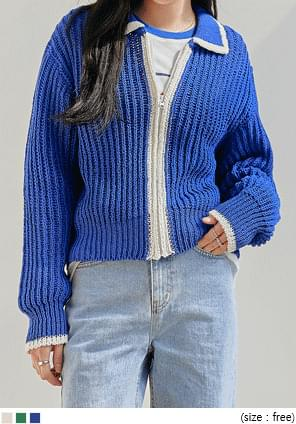 CONE COLORING ZIPUP KNIT CARDIGAN