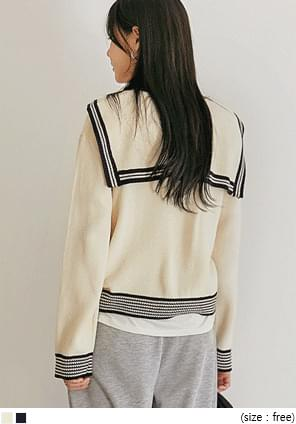 BROING SAILOR COLLAR KNIT CARDIGAN