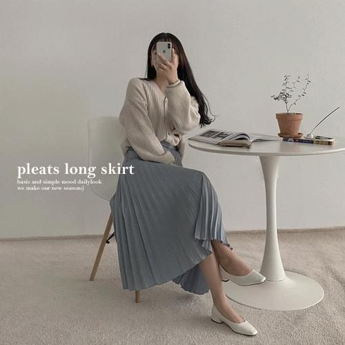 Satin wrinkled long skirt