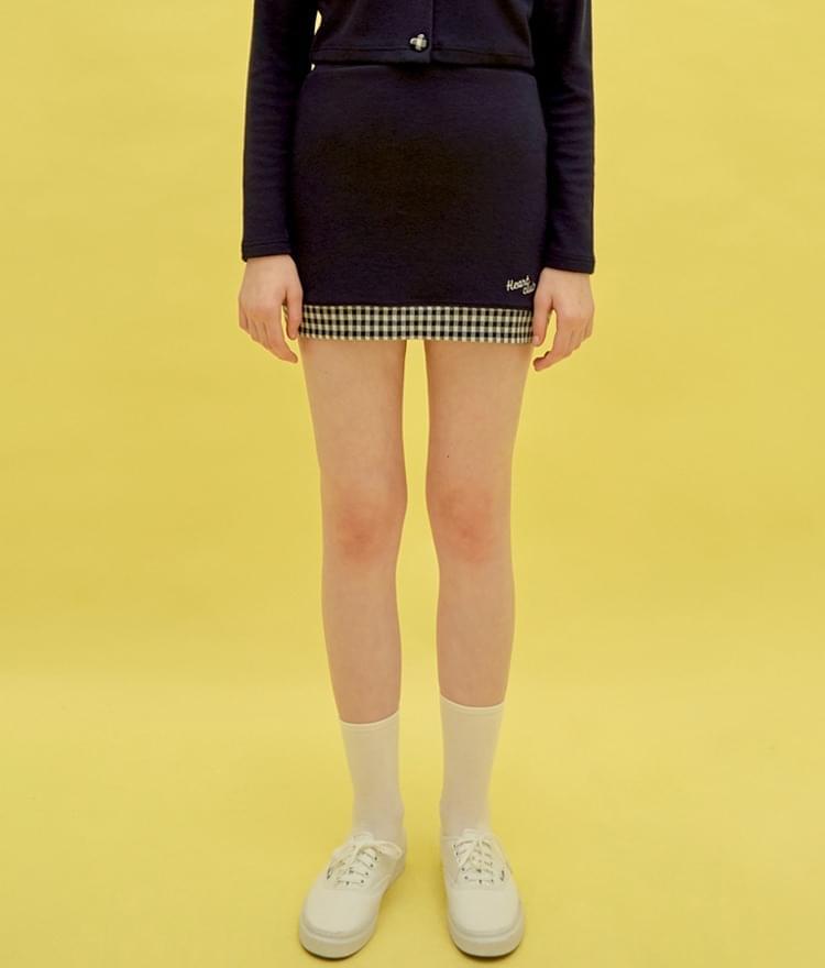 Heart Check Skirt (Navy)