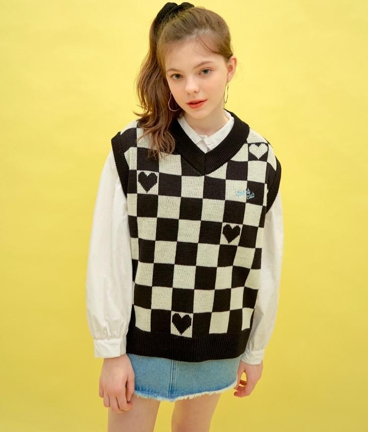 Heart Pattern Knit Vest (Black)