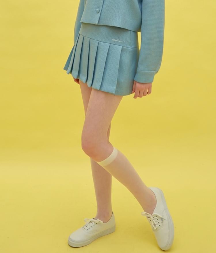 Heart Pleats Logo Skirt (Sky Blue)