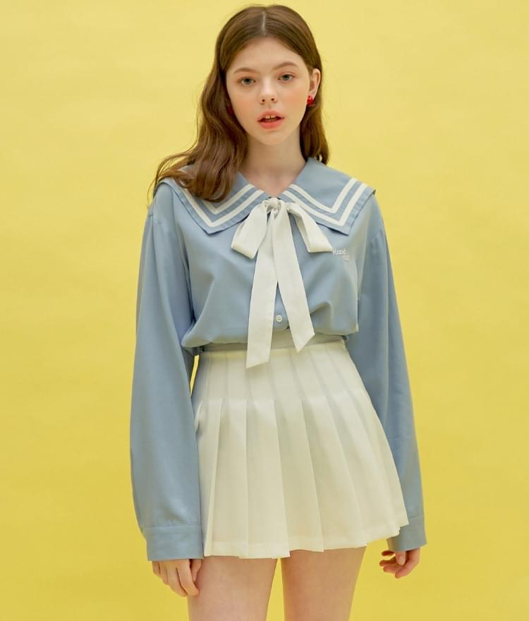 Heart Sailor Ribbon Long Shirt (Sky Blue)
