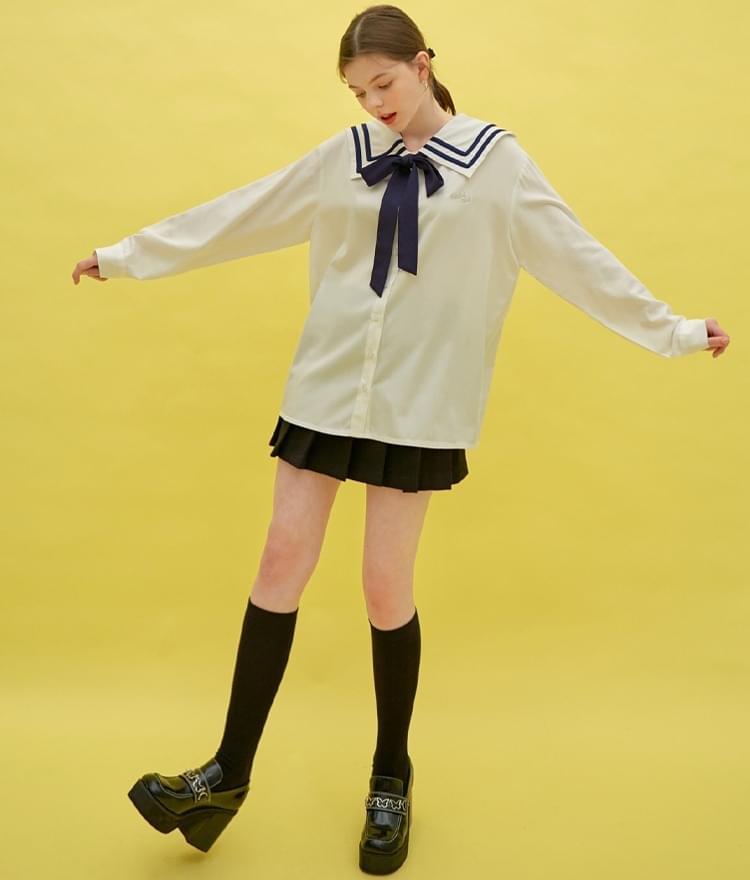 Heart Sailor Ribbon Long Shirt (White)