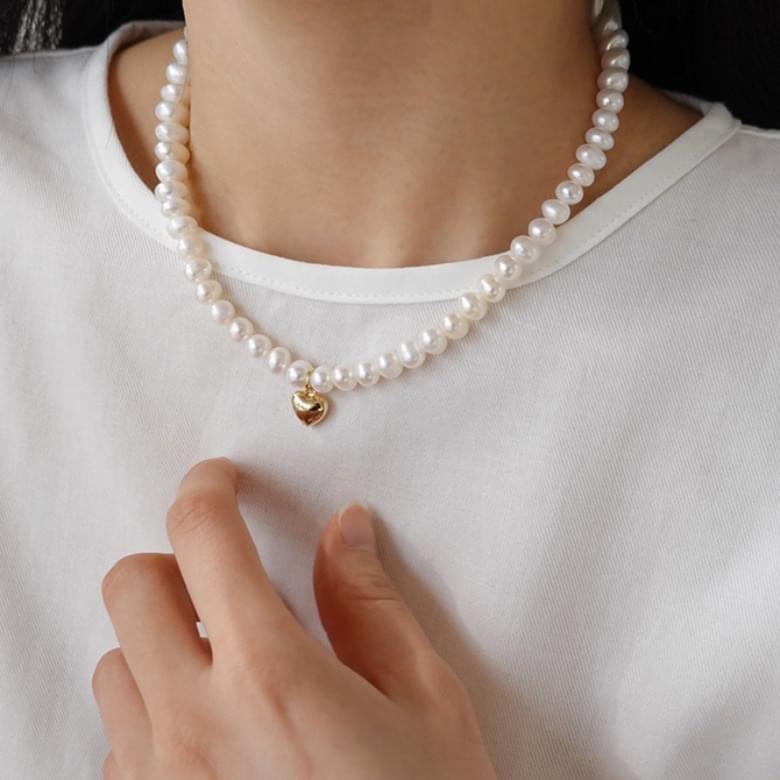 Miel pearl heart necklace 項鍊