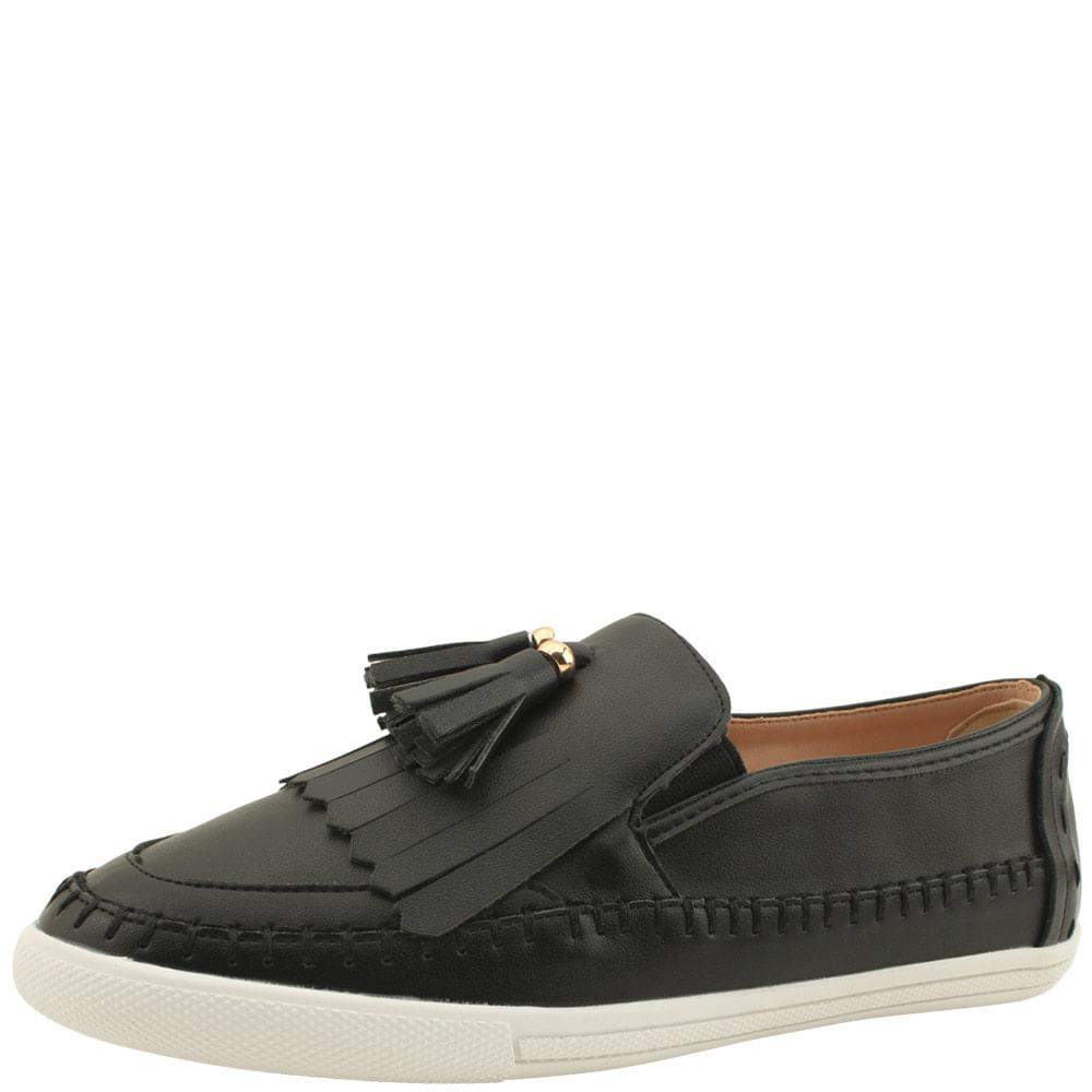 Tassel Fringe Slip-on Sneakers Black