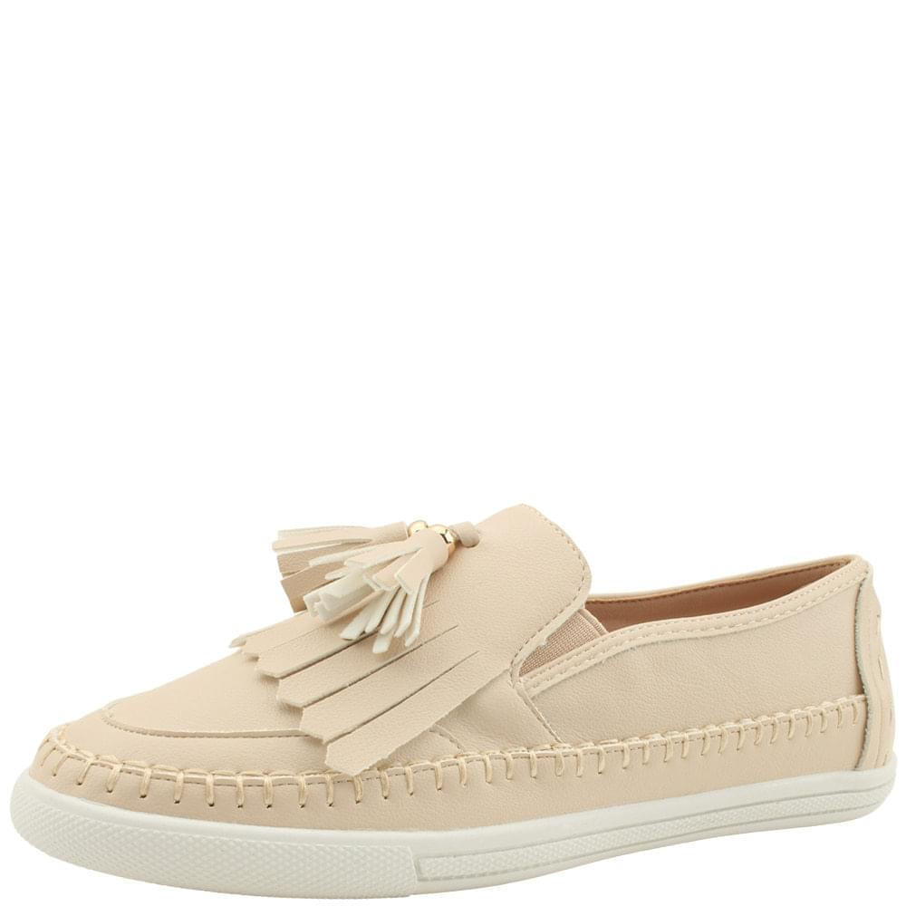 Tassel Fringe Slip-on Sneakers Beige