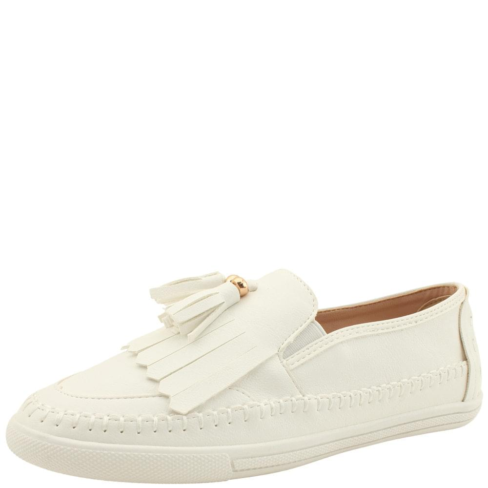 Tassel Fringe Slip-on Sneakers White