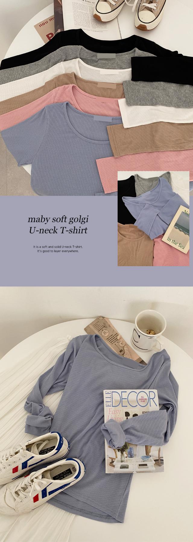 Mabe soft Ribbed U-neck T-shirt