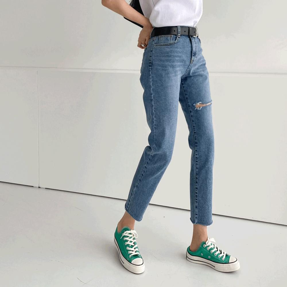 1075 slim straight split denim pants