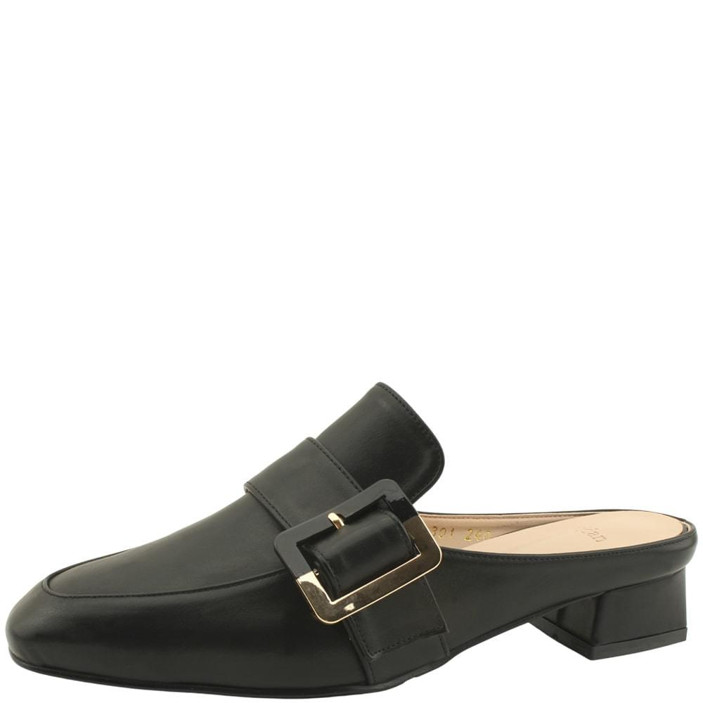 Square Toe Gold Buckle Mule Blower Black
